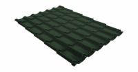 Металлочерепица классик Grand Line 0,5 Velur20 RAL 6020 хромовая зелень