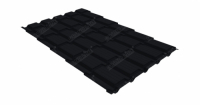 Металлочерепица квадро Grand Line 0,5 Velur20 RAL 9005 черный