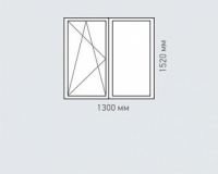 Окно двухстворчатое Rehau Brillant для домов серии хрущевка