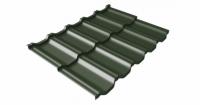 Металлочерепица модульная квинта Uno Grand Line c 3D резом 0,5 GreenСoat Pural Matt RR 11 темно-зеленый (RAL 6020 хромовая зелень)