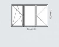 Окно трехстворчатое Rehau Brillant для домов серии хрущевка