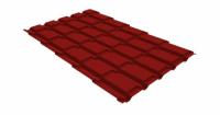 Металлочерепица квадро Grand Line 0,5 Quarzit lite RAL 3011 коричнево-красный