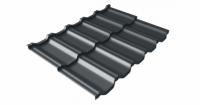 Металлочерепица модульная квинта Uno Grand Line c 3D резом 0,5 Velur20 RAL 7016 антрацитово-серый