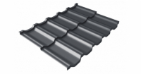Металлочерепица модульная квинта Uno Grand Line c 3D резом 0,5 GreenСoat Pural RR 23 темно-серый (RAL 7024 мокрый асфальт)