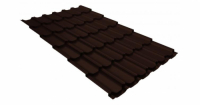 Металлочерепица квинта плюс 0,5 GreenCoat Pural Matt RR 887 шоколадно-коричневый (RAL 8017 шоколад)