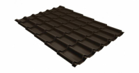 Металлочерепица классик Grand Line 0,5 Quarzit lite RR 32 темно-коричневый