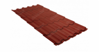 Металлочерепица квинта плюс 0,5 GreenCoat Pural Matt RR 750 кирпично-красный (RAL 8004 терракота)
