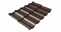 Металлочерепица модульная квинта Uno Grand Line c 3D резом 0,5 GreenСoat Pural Matt RR 887 шоколадно-коричневый (RAL 8017 шоколад)