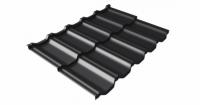 Металлочерепица модульная квинта Uno Grand Line c 3D резом 0,5 GreenСoat Pural Matt RR 33 черный (RAL 9005 черный)
