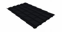 Металлочерепица квадро Grand Line 0,5 Quarzit lite RAL 9005 черный