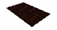 Металлочерепица квадро Grand Line 0,5 Atlas RR 32 темно-коричневый