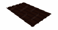 Металлочерепица квадро Grand Line 0,5 Quarzit RR 32 темно-коричневый