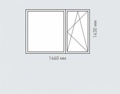 Окно двухстворчатое Rehau Brillant серия п-42