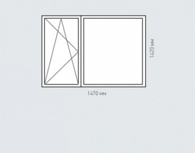 Окно двухстворчатое Rehau Delighttдля домов серии п-44