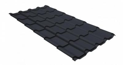 Металлочерепица камея Grand Line 0,5 GreenCoat Pural matt RR 23 темно-серый (RAL 7024 мокрый асфальт)