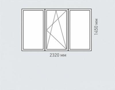 Окно трехстворчатое Rehau Brillant серия п-3м