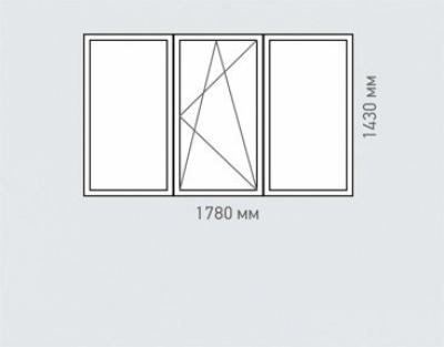 Окно трехстворчатое Rehau Brillant серия п-55