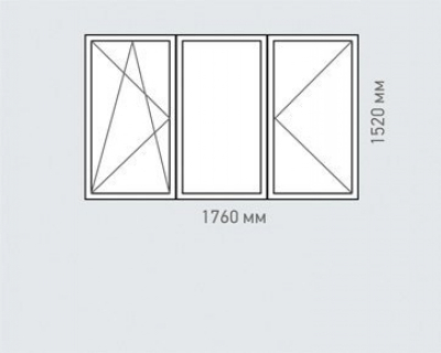Окно трехкамерное Rehau  Delight для домов серии хрущевка