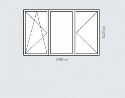 Окно трехстворчатое Rehau Delight для домов серии п-30