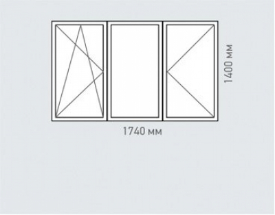 Окно трехстворчатое Rehau Delight для домов серии п-3