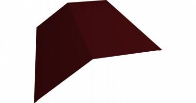 Планка конька плоского 145х145 0,5 Satin с пленкой RAL 3005 красное вино