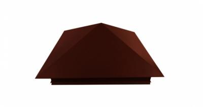 Колпак на столб 390х390мм 0,5 GreenCoat Pural с пленкой RR 750 кирпично-красный (RAL 8004 терракота)
