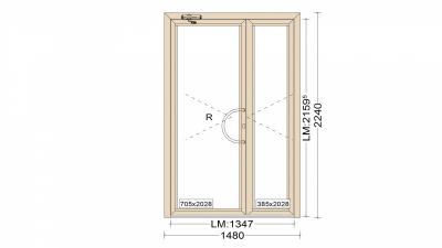 Алюминиевые двери двухстворчатые серия 65 (теплые) 1480*2240
