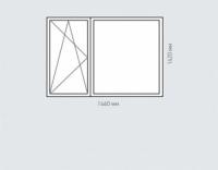 Окно двухстворчатое Rehau Brillant для домов серии П-44Т
