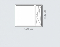 Окно двухстворчатое Rehau Brillant для домов серии п-46