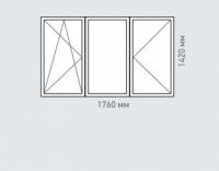 Окно трехстворчатое Rehau Brillant для домов серии копэ