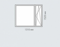 Окно двухстворчатое 2 Rehau Brillant для домов серии 1605-12