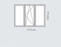 Окно трехстворчатое 2 Rehau Brillant для домов серии 1605-12
