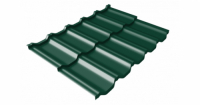 Металлочерепица модульная квинта Uno Grand Line c 3D резом 0,5 Atlas RAL 6005 зеленый мох