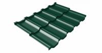 Металлочерепица модульная квинта Uno Grand Line c 3D резом 0,45 Drap RAL 6005 зеленый мох