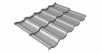 Металлочерепица модульная квинта Uno Grand Line c 3D резом 0,5 Satin RAL 7004 сигнальный серый