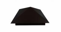 Колпак на столб 390х390мм 0,5 GreenCoat Pural с пленкой RR 23 темно-серый (RAL 7024 мокрый асфальт)