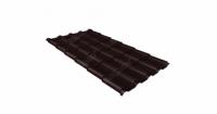 Металлочерепица камея 0,5 Стальной бархат RAL 8017 шоколад