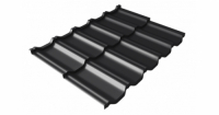 Металлочерепица модульная квинта Uno Grand Line c 3D резом 0,5 Velur20 RAL 9005 черный
