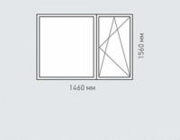 Окно двухстворчатое Rehau Brillant для домов серии II-49