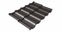 Металлочерепица модульная квинта Uno Grand Line c 3D резом 0,5 GreenСoat Pural RR 32 темно-коричневый (RAL 8019 серо-коричневый)