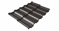 Металлочерепица модульная квинта Uno Grand Line c 3D резом 0,5 GreenСoat Pural Matt RR 32 темно-коричневый (RAL 8019 серо-коричневый)